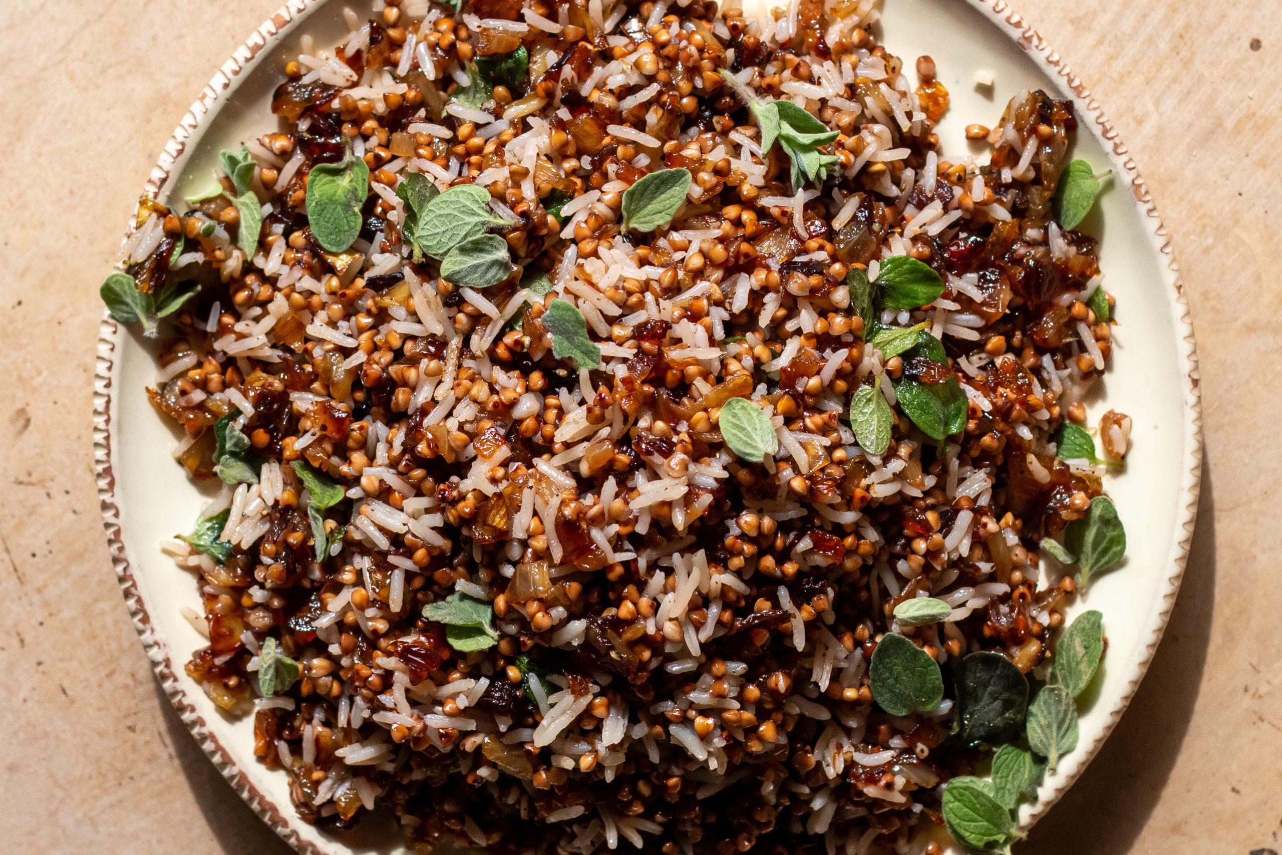 Buckwheat and za'atar mujadara on a ceramic plate