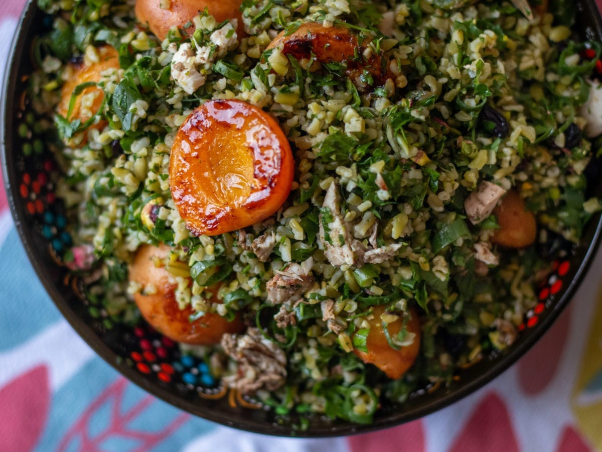 Freekeh salad with herbs and roasted apricots
