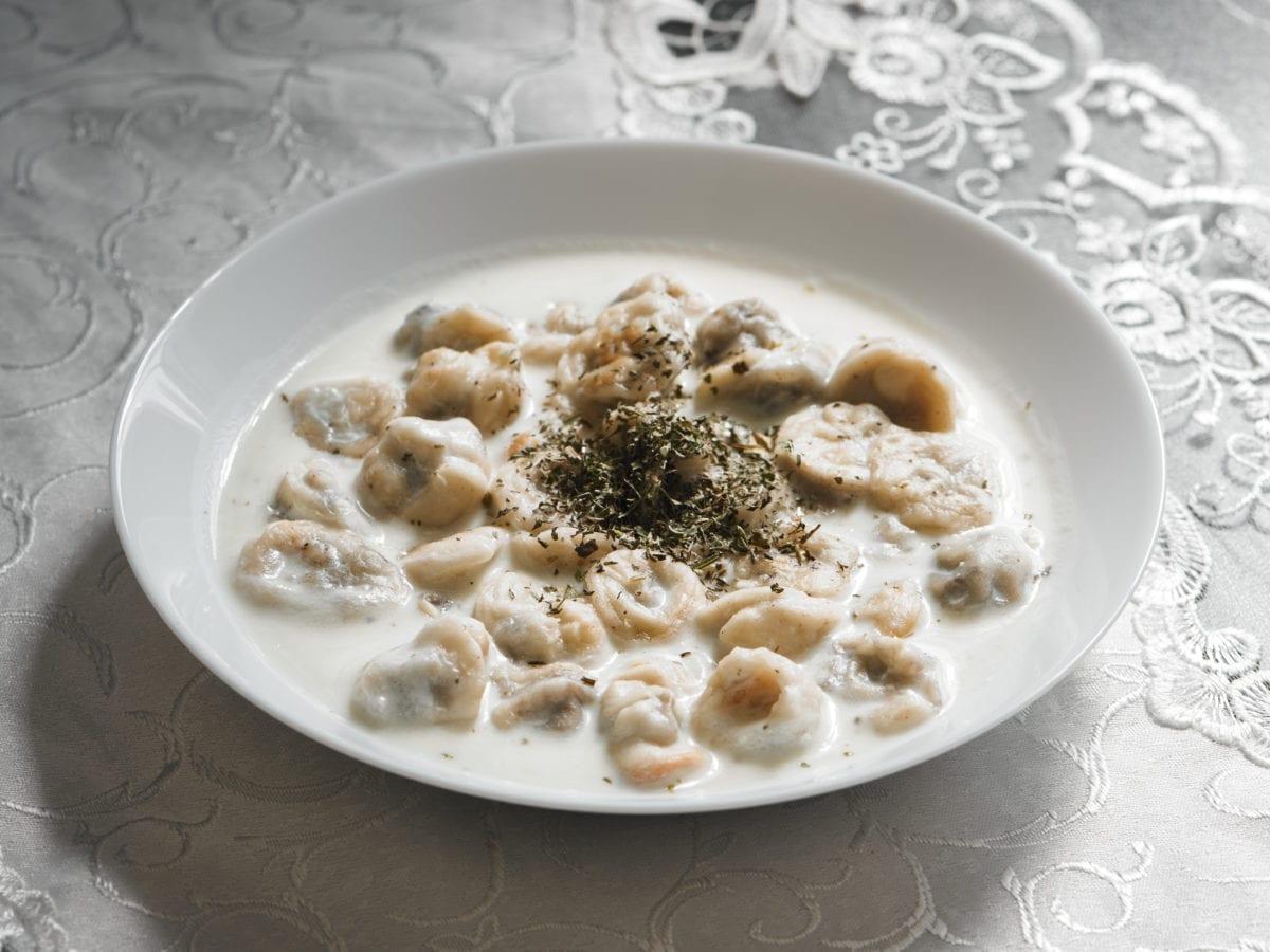 Palestinian dumplings in yogurt soup called shush barak