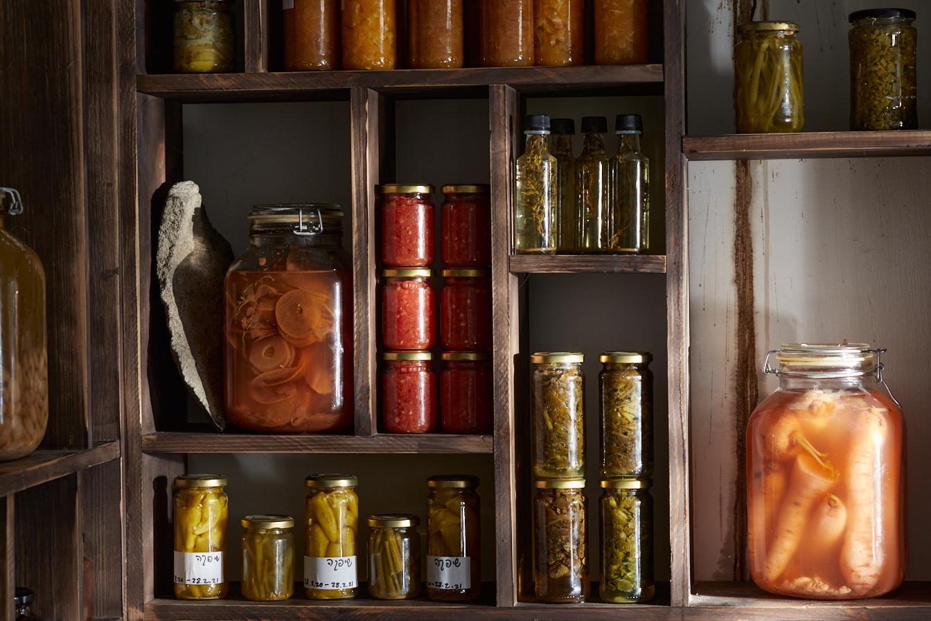 A pantry of jars of citrus preserves at Rutenberg restaurant