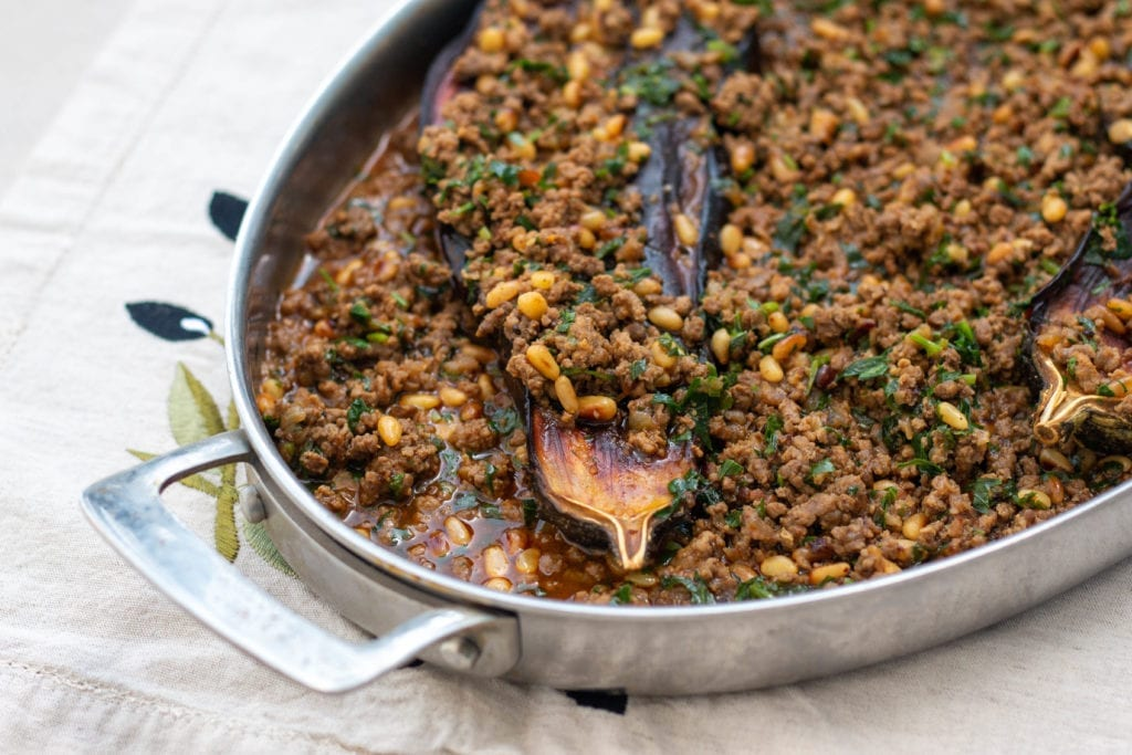 Eggplant with meat inspired by Azura