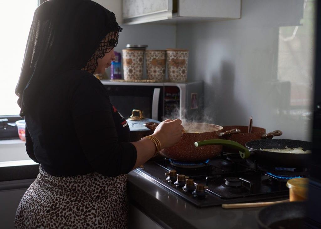 Palestinian chef Nadir Abu-Seif at her kitchen