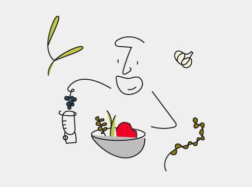 Illustration of Haim Cohen making local beef bourguignon