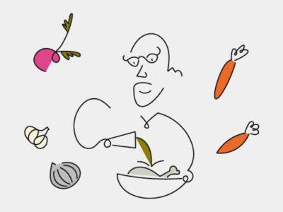 Illustration of Israel Aharoni making pot-au-feu