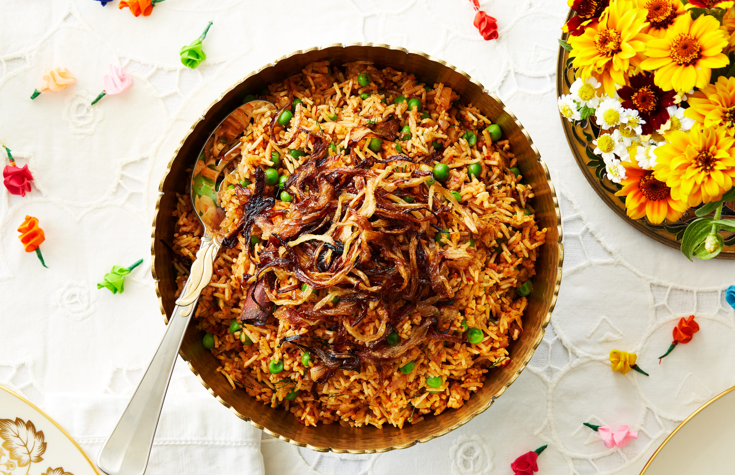 Rice pilaf with tomatoes, peas, and onions from the Baghdadi Jewish community of India