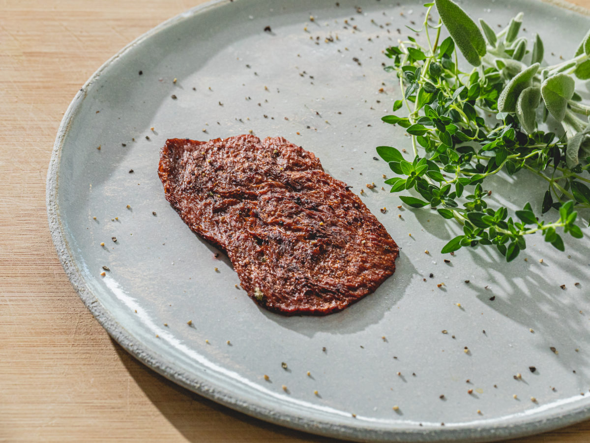 cultivated meat on a plate
