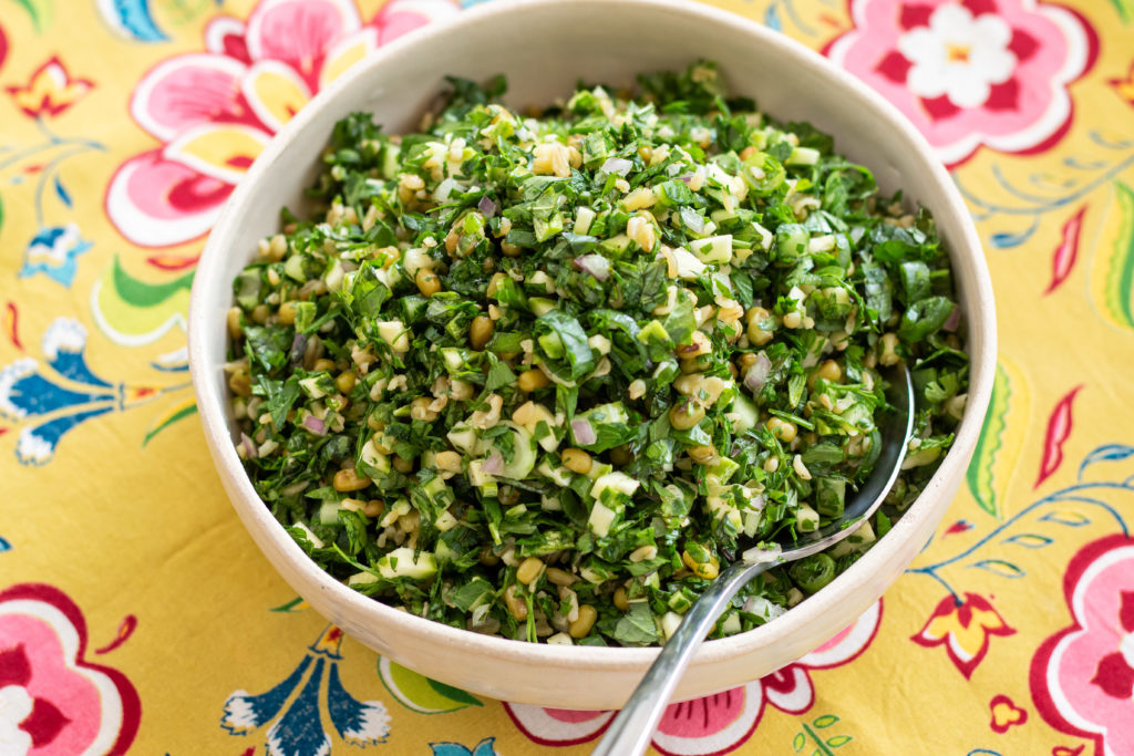 Freekeh, mung beans and raw zucchini Tabbouleh with Carob dressing